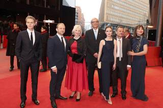 Cast members arrive for the screening of the movie 'Spoor' at the 67th Berlinale International Film Festival in Berlin