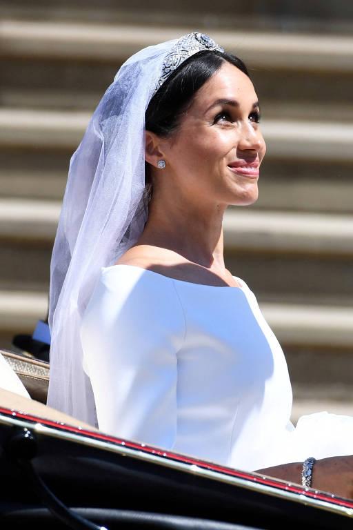 Meghan Markle na saída de seu casamento com o príncipe Harry