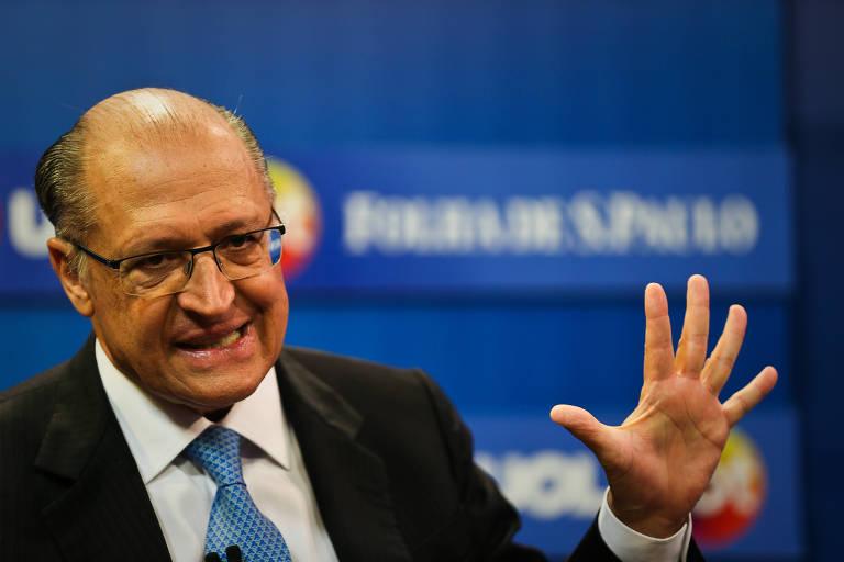 O ex-governador e pré-candidato ao Planalto Geraldo Alckmin (PSDB) durante sabatina Folha/UOL/SBT