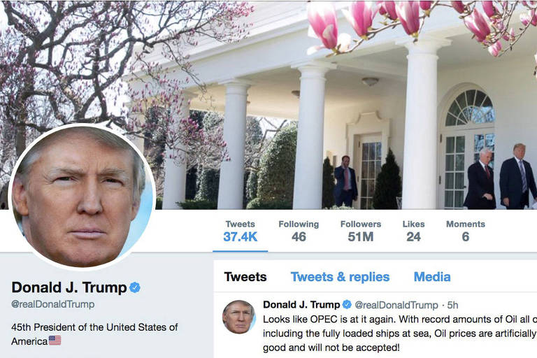 Reprodução da conta de Trump no Twitter, que tem mais de 50 milhões de seguidores