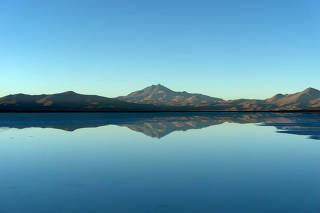 A view of Maricunga salt flat placed next to 'Los Andes' mountain range, Copiapo
