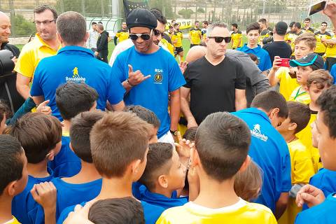 Jerusalém,Israel 26.04.2018 Ronaldinho inaugura escolinha de futebol em Jerusalém, Israel. Foto:  Daniel Farjoun / Folhapress  ****EXCLUSIVO FOLHA**** *** Local Caption *** Folhapr