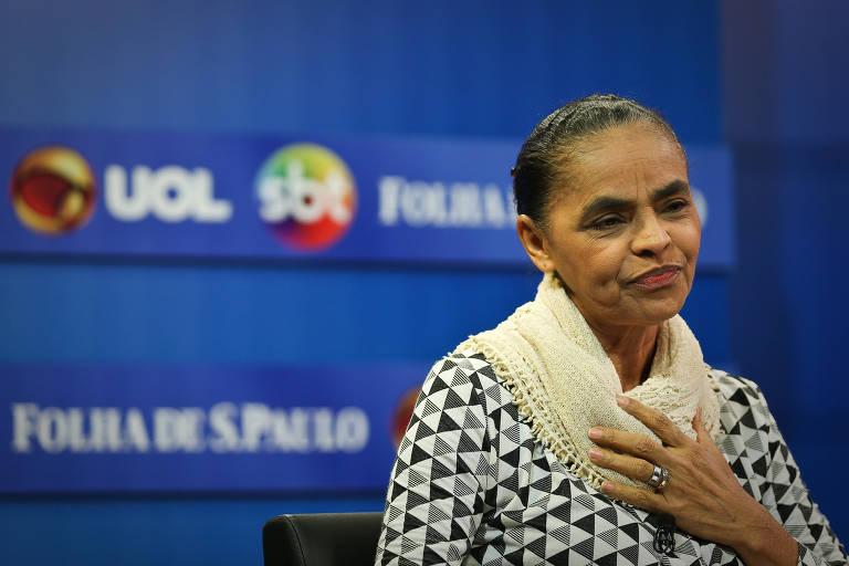 Marina Silva durante sabatina em SP