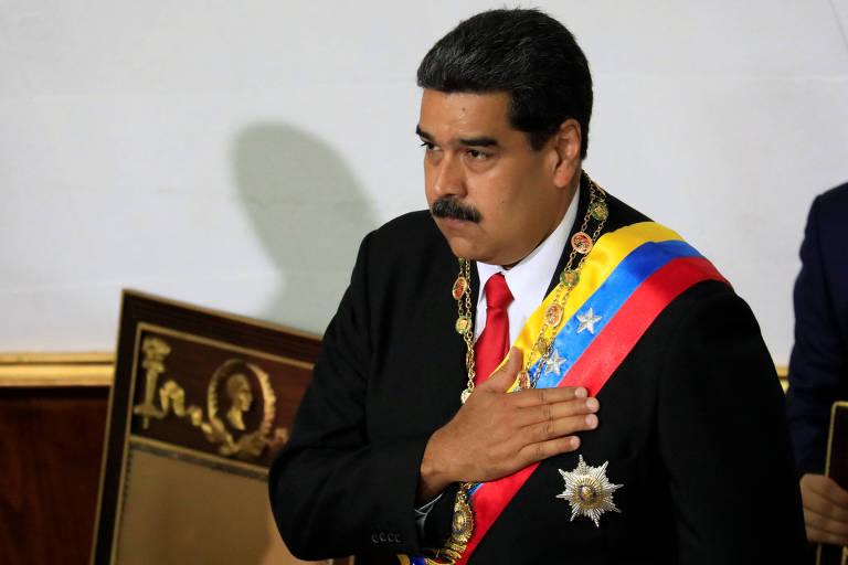 O ditador venezuelano, Nicolás Maduro, faz o juramento à Assembleia Constituinte em Caracas nesta quinta (24)