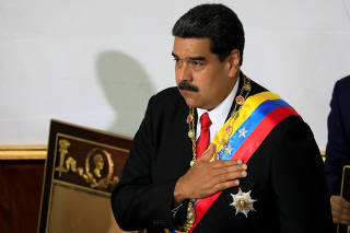 Venezuela's President Nicolas Maduro gestures during a special session of the National Constituent Assembly in Caracas