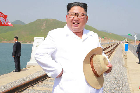 In this undated photo provided on Friday, May 25, 2018, by the North Korean government, North Korean leader Kim Jong Un inspects the completed Koam-Tapchon Railways in Gangwon-do, North Korea. Independent journalists were not given access to cover the event depicted in this image distributed by the North Korean government. The content of this image is as provided and cannot be independently verified. Korean language watermark on image as provided by source reads: