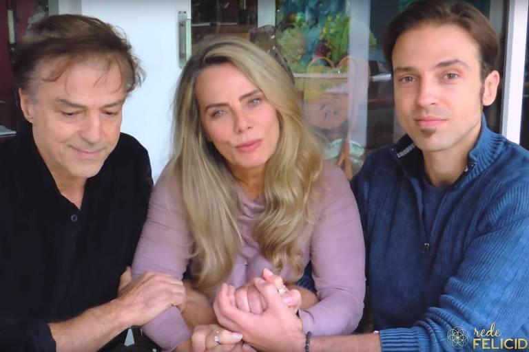 Alberto Ricelli (E), Bruna Lombardi e o filho do casal, Kim Ricelli (D) no vídeo em que falam sobre o assalto