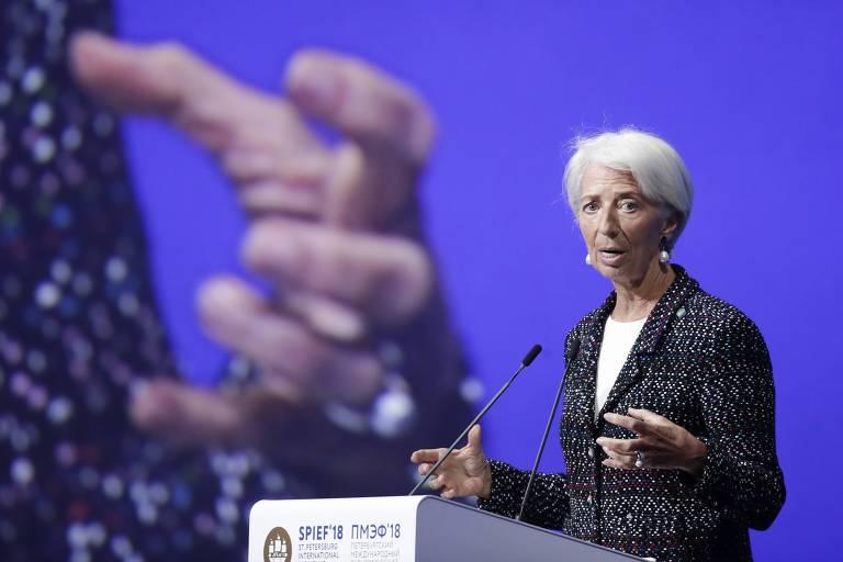 Christine Lagarde, diretora do FMI, em fórum na Rússia