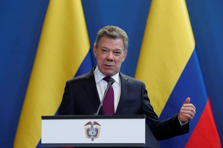 O presidente da Colômbia, Juan Manuel Santos, em Budapeste