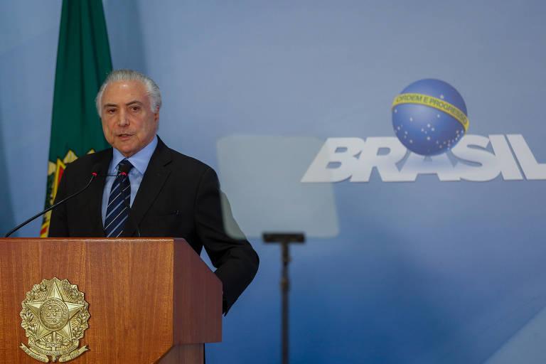 O presidente da República, Michel Temer, durante declaração à imprensa nesta sexta (25), em Brasília