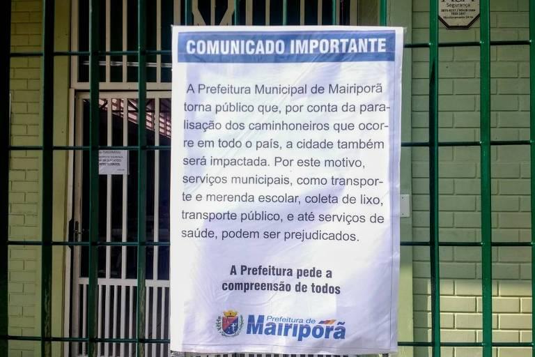 Comunicado sobre suspensão das aulas em Mairiporã devido a protesto de caminhoneiros