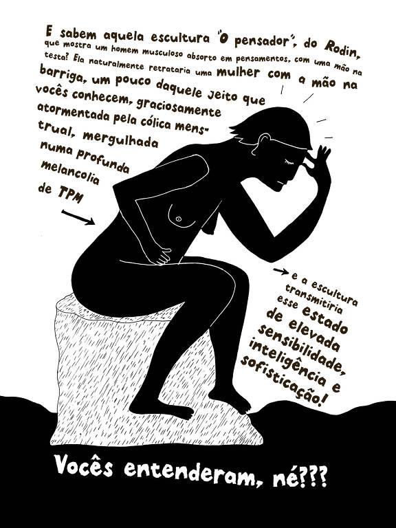 mulher com cólica imitando escultura do pensador