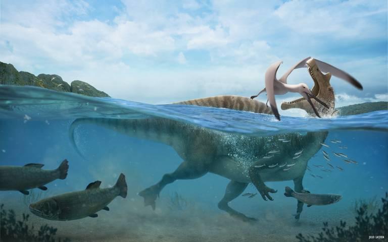 Ilustração de espinossauro semiaquático; bicho era parente do Tyrannosaurus rex
