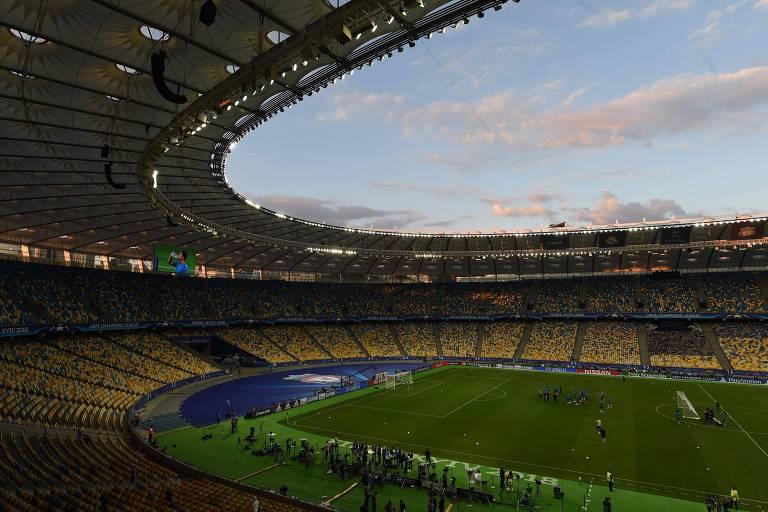O Estádio Olímpico de Kiev, onde acontecerá a final da Liga dos Campeões da temporada 2017/2018