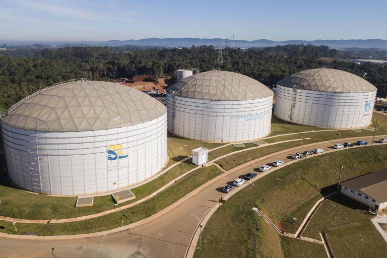 Reservatório da Sabesp em Vargem Grande Paulista, na Grande SP