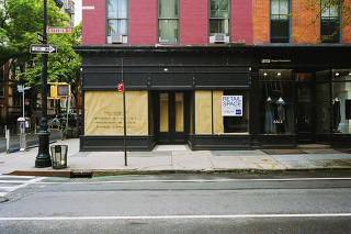 The now-empty former location of a Ralph Lauren store on Bleecker Street in New York