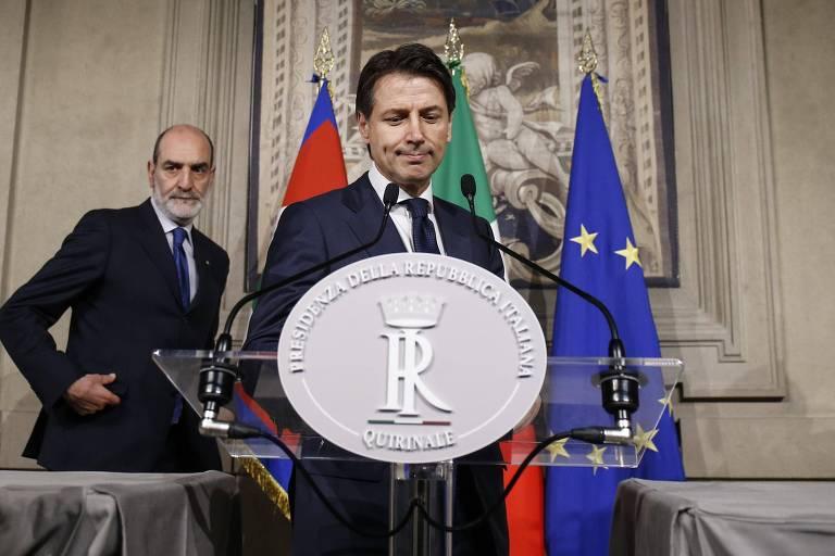 Giuseppe Conte, que havia sido escolhido para ser premiê da Itália, fala neste domingo (27) em Roma