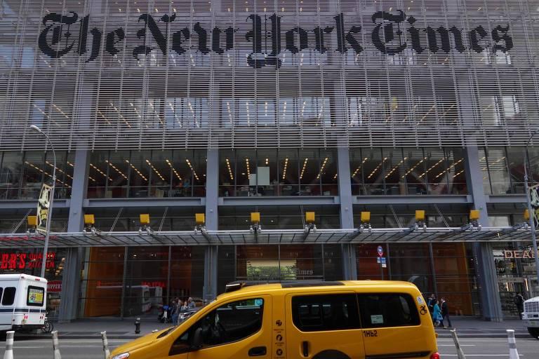Fachada do prédio do New York Times, na 8ª Avenida, em Nova York