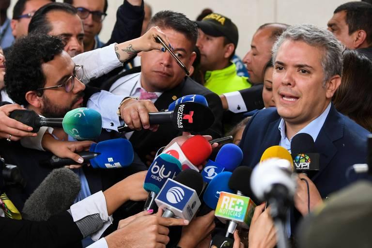 Iván Duque, mais votado no primeiro turno na Colômbia, fala em Bogotá
