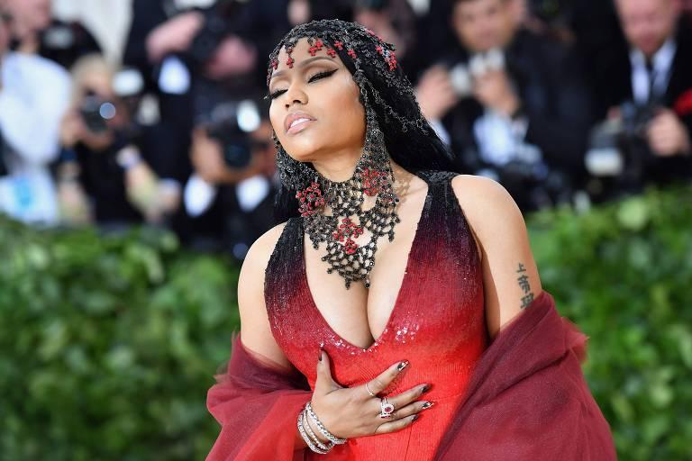Nicki Minaj no baile do Met Gala 2018, no Metropolitan Museum of Art in New York