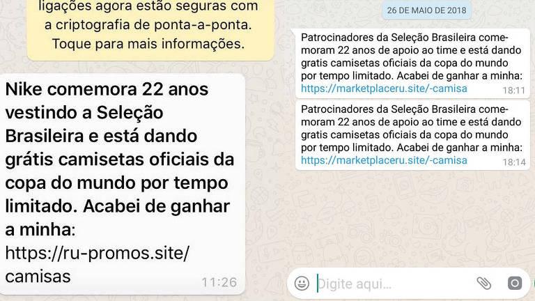 Mensagens de WhatsApp dizem que ao clicar no link enviado e compartilhar o conteúdo o usuário ganharia uma camisa da seleção