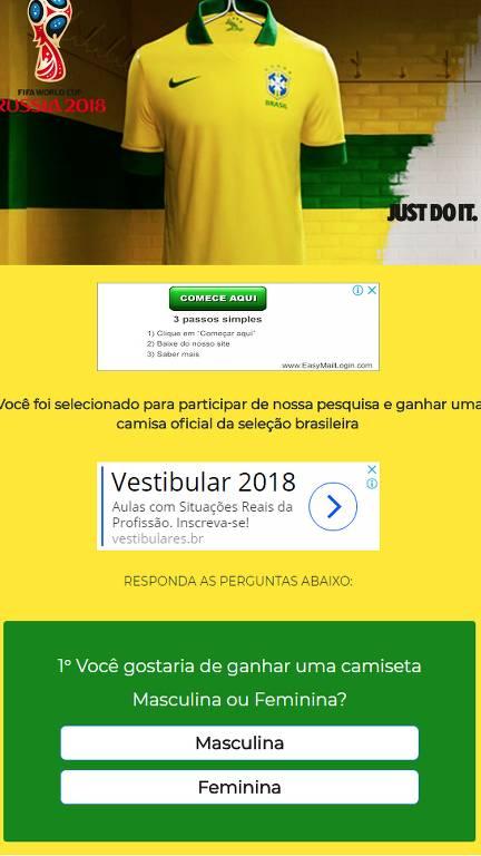 Site mostra camisa da seleção brasileira no topo e suposta pesquisa que leva a compartilhamento de link no whatsapp