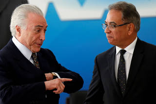 Brazil's President Michel Temer attends the inauguration ceremony of Ronaldo Fonseca, the new Minister Secretary of the government, at the Planalto Palace in Brasilia