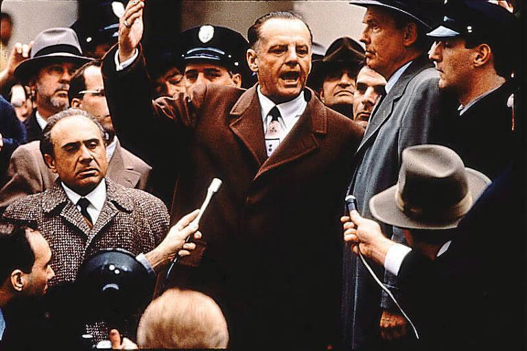 """Cena do filme """"Hoffa"""", com Jack Nicholson e Danny DeVito"""