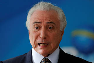 Brazil's President Michel Temer attends the inauguration ceremony of the new Minister Secretary of the government Ronaldo Fonseca at the Planalto Palace in Brasilia