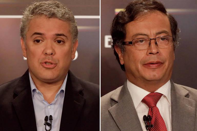 O presidenciável direitista Iván Duque (à esq.) e o ex-guerrilheiro Gustavo Petro, candidato da esquerda no 2º turno da eleição colombiana