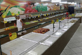 Market, with low stock, due to the truckers strike is pictured in Rio de Janeiro
