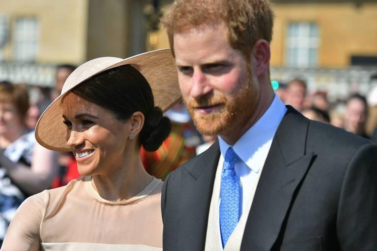 Harry e Meghan na festa de comemoração dos 70 anos do príncipe Charles, no Palácio de Buckingham