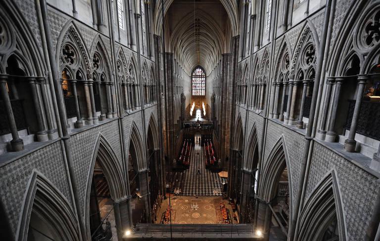 Vista superior da abadia de Westminster a partir do segundo andar da igreja, onde fica o novo museu.