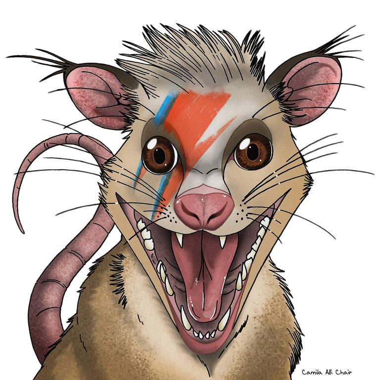 Ilustração de como, possivelmente, seria o Brasilestes stardusti, o primeiro mamífero brasileiro identificado como da Era dos Dinossauros; animal é semelhante a um gambá moderno (o nome faz uma homenagem ao cantor David Bowie, por isso, a ilustração do animal apresenta um raio no rosto)