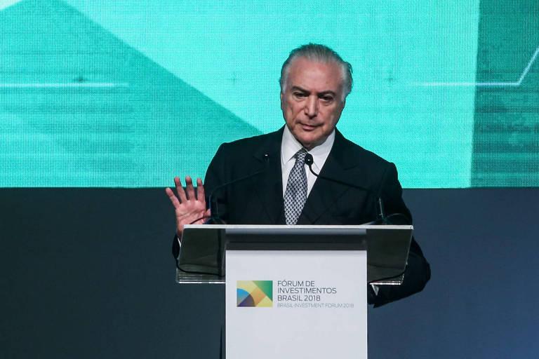 O presidente Michel Temer discursa em evento em São Paulo