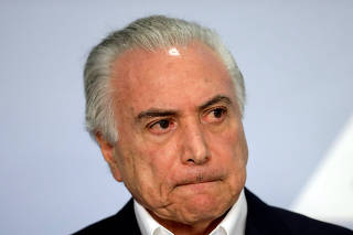 Brazil's President Michel Temer makes a announcement  in Brasilia