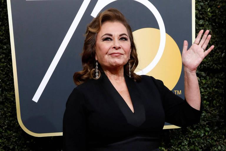 A atriz Roseanne Barr no 75º Globo de Ouro, em Beverly Hills, Califórnia, em Janeiro de 2018