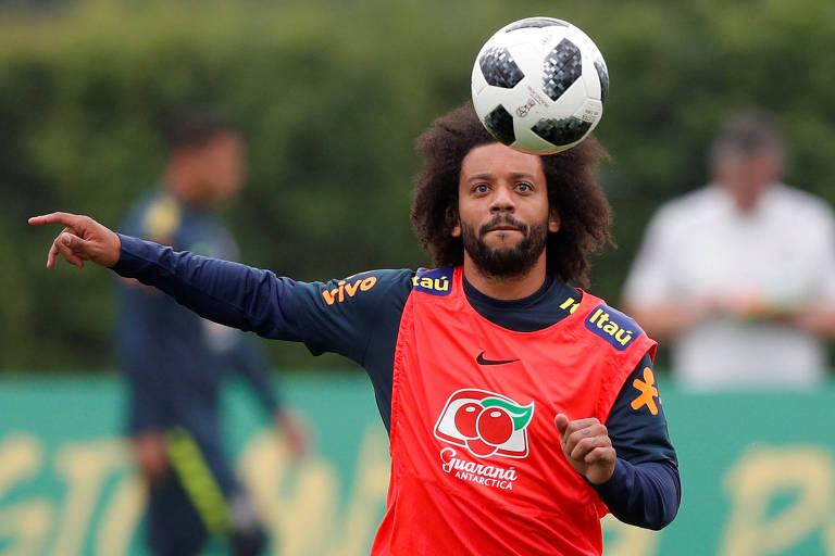 Marcelo, lateral esquerdo do Real Madrid, apresentou-se à seleção em Londres e já treinou com o grupo
