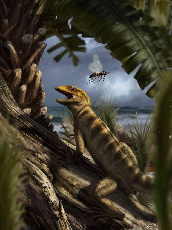 Concepção artística da região de Dolomites, no norte da Itália, cerca de 240 milhões de anos atrás, com o réptil Megachirella wachtler andando pela vegetação