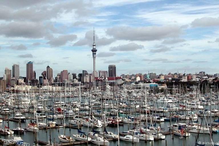 Barcos reunidos em marina, com cidade ao fundo