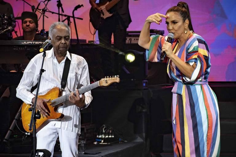 Gilberto Gil e Ivete Sangalo em show no Allianz Parque, em São Paulo