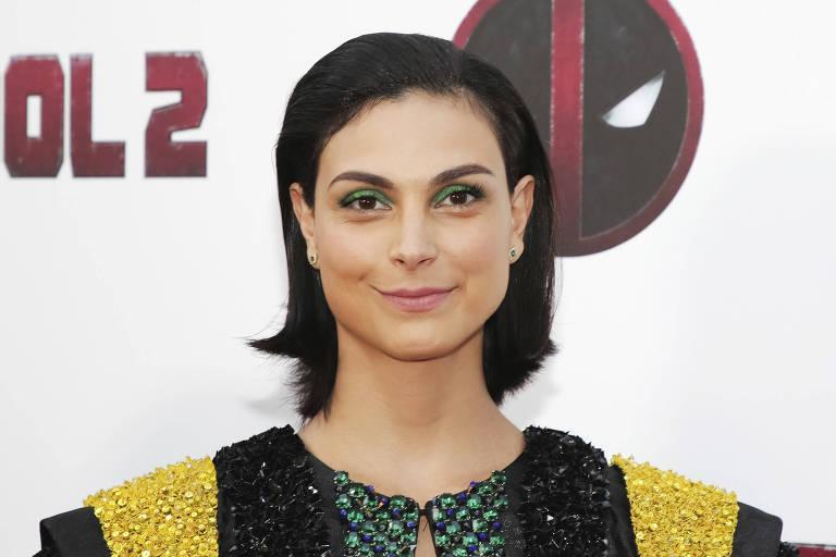 """A atriz Morena Baccarin no lançamento de """"Deadpool 2"""" em New York"""