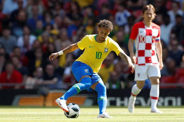 Neymar marcou em retorno à seleção brasileira, contra a Croácia