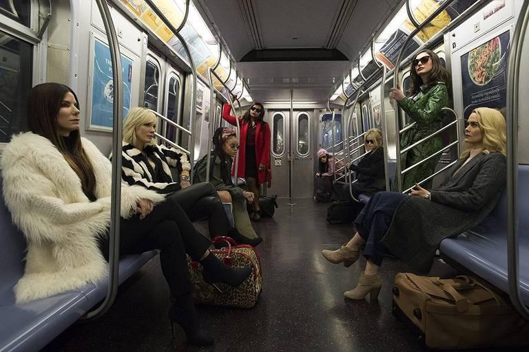 Sandra Bullock, Cate Blanchett, Rihanna, Mindy Kaling, Awkwafina, Helena Bonham Carter, Anne Hathaway e Sarah Paulson em Oito Mulheres e um Segredo