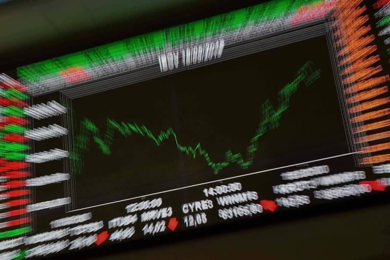 Gráfico na Bolsa de São Paulo