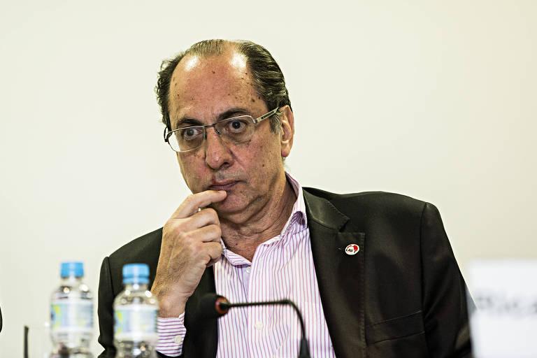 Ricardo Patah, presidente da UGT, durante debate na Folha sobre sindicalismo, em 2014