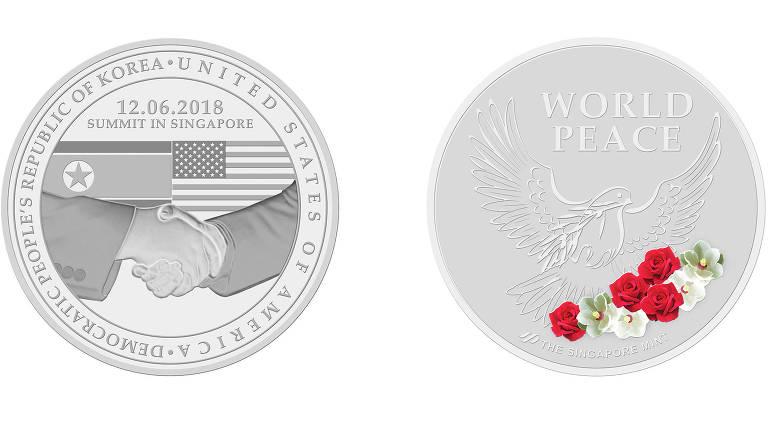 As duas faces da versão em níquel da medalha comemorativa
