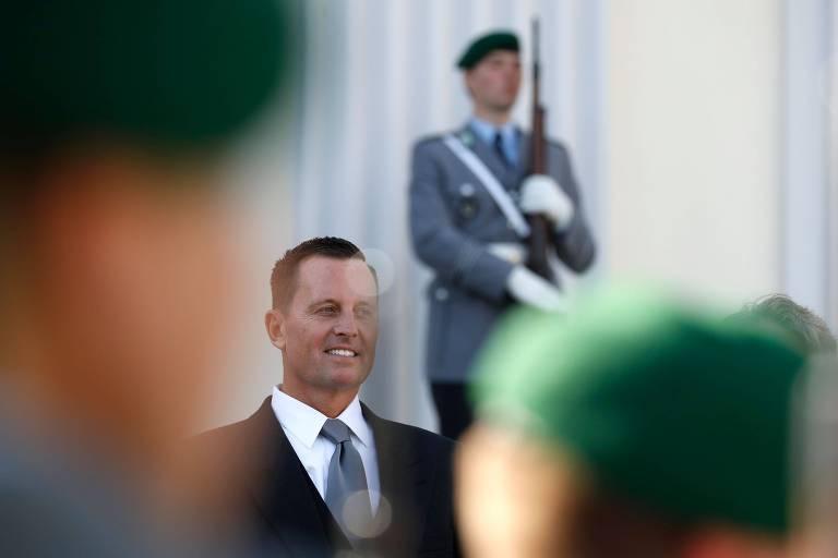 O embaixador americano na Alemanha, Richard Grenell, em Berlim logo após ser confirmado no cargo