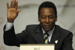Brazil's former national soccer player Pele attends a news conference after presentation of Rio de Janeiro candidature for 2016 Olympic Games to IOC members in Copenhagen