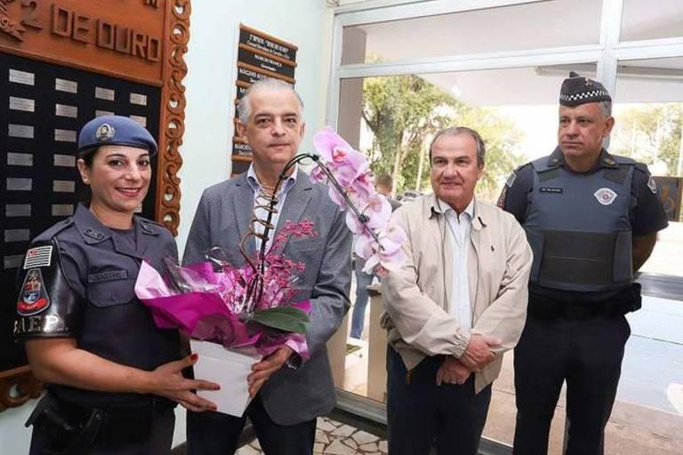 A PM Katia Sastre foi homenageada pelo governador de São Paulo, Márcio França